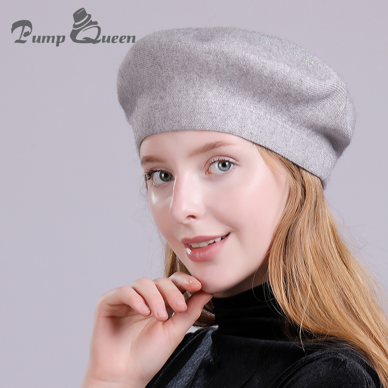 Pump Queen Women Winter Hat Knitted Wool Berets Warm Womens Cashme