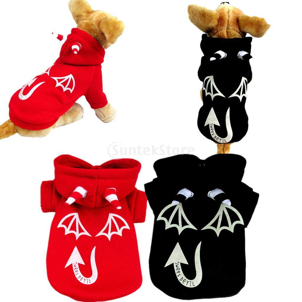 Aligeramiento diablo perro mascota suave HOODIE jumpsuit ropa traje rojo  negro 4036b1f2f0c