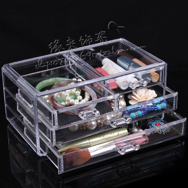 Quality cosmetic box jewelry storage box organizer transparent Large