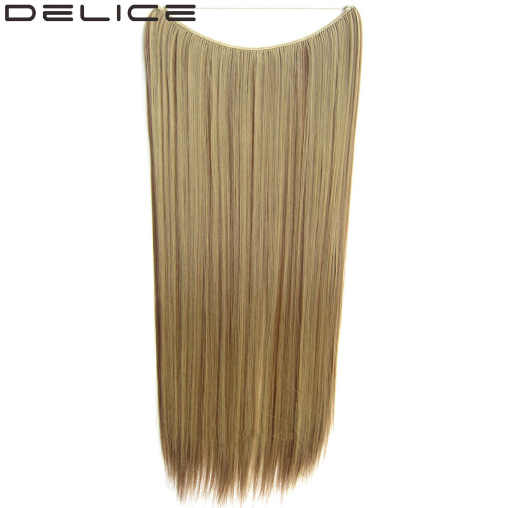 DELICE 24 60cm No clips 100g piece Synthetic Long Straight Invisible Fish Line Hair Extensions