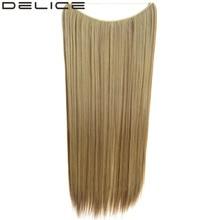 """[DELICE] 24 """"/60 см (Не клипы) 100 г/шт. Синтетические Длинные Прямые Невидимая Рыба Линия Наращивание волос"""