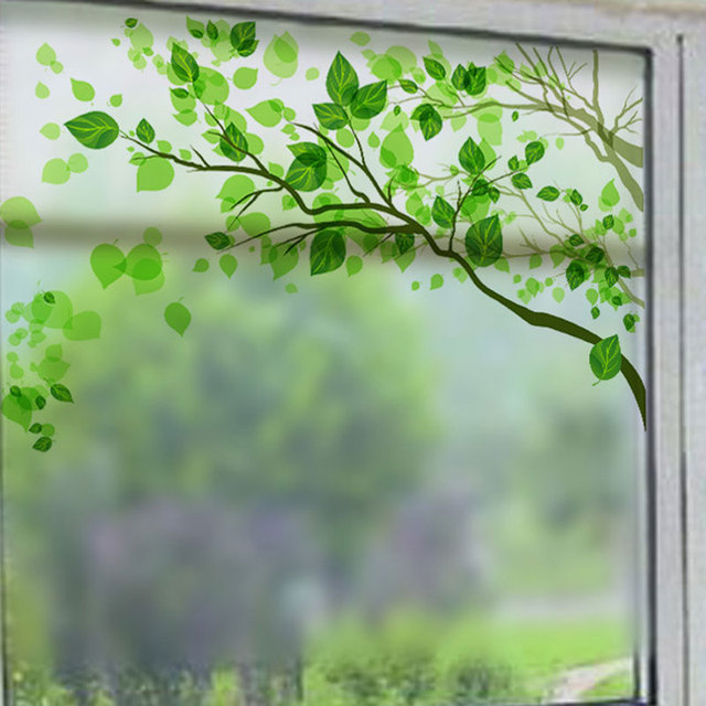 Fresh green tree frosted glass window stickers move door bathroom window wall sticker decoracion hogar decorative