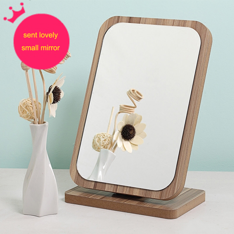 Wooden mirror high-definition large square desktop make-up mirror  top beautyladies mirror