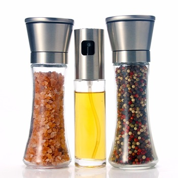 Młynek do soli i pieprzu z oliwką dozownik do oliwy zestaw 3 do gotowania grillowania pieczenie w kuchni tanie i dobre opinie Leeseph ceramic Glass stainless steel ceramic China Dongguan Kitchen gadgets
