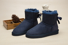 2016 High Quality KXA Australian Material Winter Women's Snow Boots Cow Leather Bow Botas Size 5-14 no box
