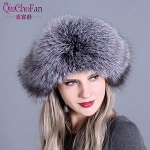 Image 2 - Futro kapelusz dla kobiet naturalne futro szopa rosyjska uszanka czapki zimowe grube ciepłe uszy moda Bomber Cap czarny New Arrival