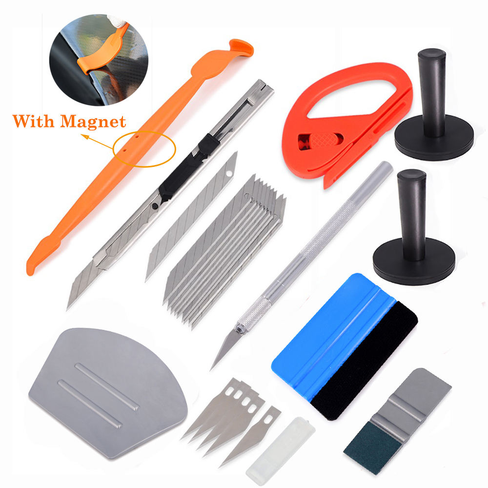 EHDIS Vinyl Car Wrap Styling Tools Carbon Fiber Film Sticker Magnetic Squeegee Cutter Knife Holder Window Tint Wrapping Tool Set