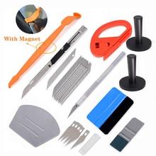 лучшая цена EHDIS Vinyl Car Wrap Styling Tools Carbon Fiber Film Sticker Magnetic Squeegee Cutter Knife Holder Window Tint Wrapping Tool Set