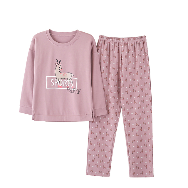 New Women Pyjamas Sweet Cute Cotton Clothing Long Tops Set Female Pyjamas  Sets NightSuit Sleepwear Women Home Wear Ladies Set 08f4f4133d