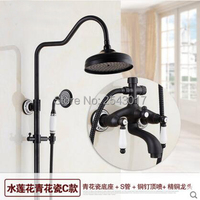 Bathroom Shower Set Black Color Dual Handle Wall Mounted 8 Rainfall Shower With Ceramic Hand Shower