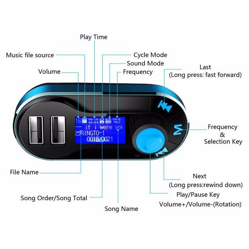 Image 3 - Bluetooth Car FM Transmitter Supports Dual USB SD AUX Auto MP3 Player For Smartphone Charging Built in Microphone-in Car MP3 Players from Automobiles & Motorcycles