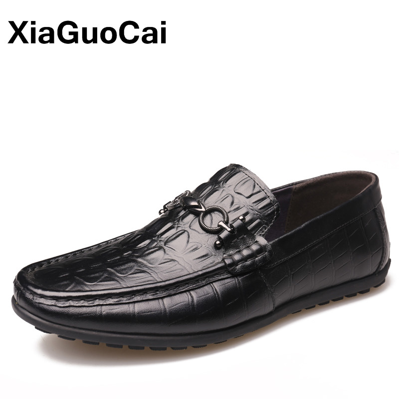 XiaGuoCai Genuine Leather Mens Autumn Shoes Breathable Slip-On Moccasins Men's Loafers Male Flats Gommino Driving Shoes pl us size 38 47 handmade genuine leather mens shoes casual men loafers fashion breathable driving shoes slip on moccasins