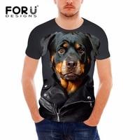 FORUDESIGNS 3D Animal Rottweiler Dog Printed Men T Shirts Fashion Male Tshirts Brand Designer Black Short