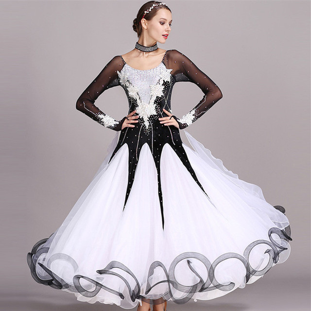 b3bd4d9b5 Black rhinestones Ballroom dance competition dress standard dresses modern  dance costume ballroom waltz dress luminous costumes