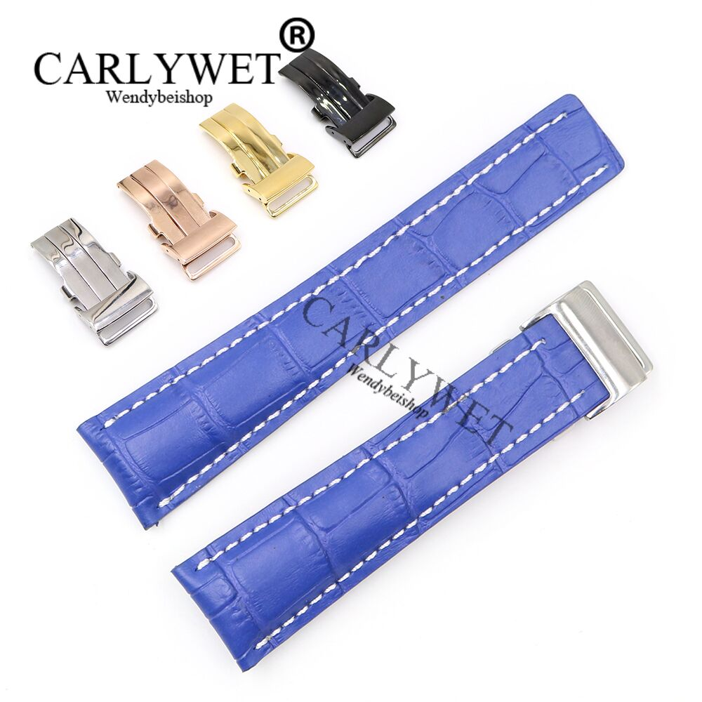 CARLYWET 22 24mm Blue Men Women Wholesale Replacement Real Cowhide Leather Wrist Watch Band Strap For Super Ocean