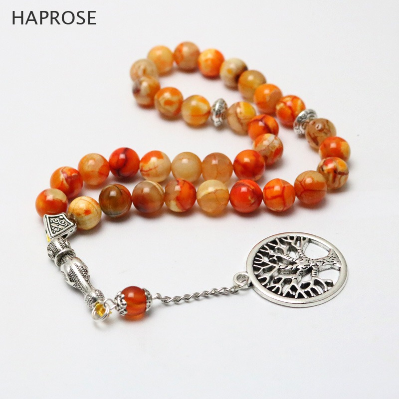 HAPROSE 100% Natural orange agate Life Tree Bracelet Rosary Islamic Muslim Tasbih Allah Pendant Agate Tassel Christmas present