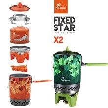 Bordo de fogo ao ar livre sistema de cozinha pessoal caminhadas equipamentos acampamento ovenportable melhor fogão a gás propano queimador conjunto FMS X2 pot