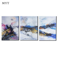 Handmade 3P Modern Pictures On Canvas Oil Painting No Frame Abstract landscape For Living Room Maple Landscape Wall Art View