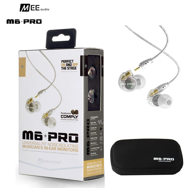Wired Sports Running Earphone MEE Audio M6 PRO Hifi In-Ear Monitors with Detachable Cables (Transparent Black) with box VS SE535