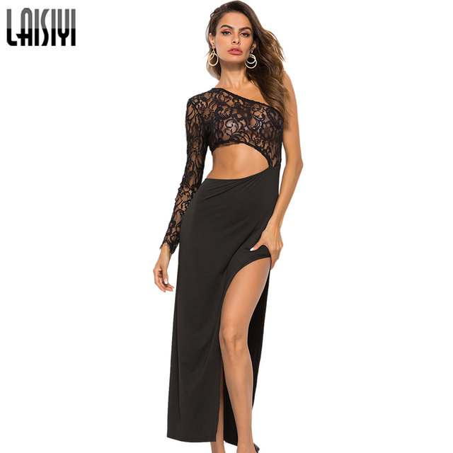 LAISIYI One Shoulder Lace Black Elegant Formal Dresses Long Sleeve Off  Shoulder Hollow Out Sexy Backless Long Dress ASDR21284 51a51fa97