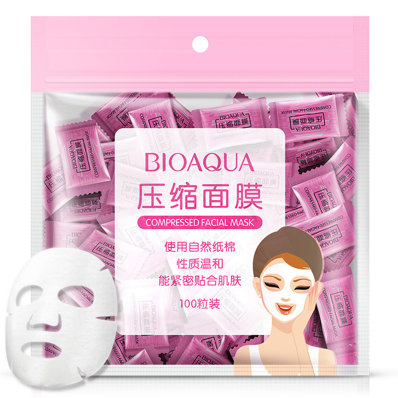100Pcs/lot BIOAQUA Compression Face Mask Whitening Anti Acne Natural Cotton Close To The Skin DIY Skin Care Beauty Tools