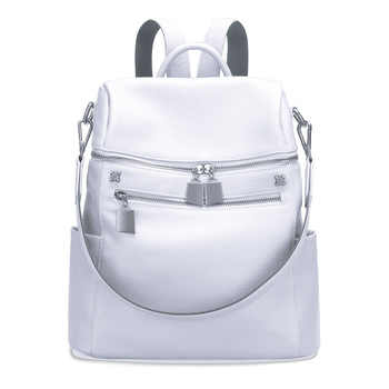Aodux 100% Genuine Real Cow Leather Women Designer Travel Backpack Bags First Layer Cowhide Girl Female Silver White Rucksack - DISCOUNT ITEM  55% OFF All Category