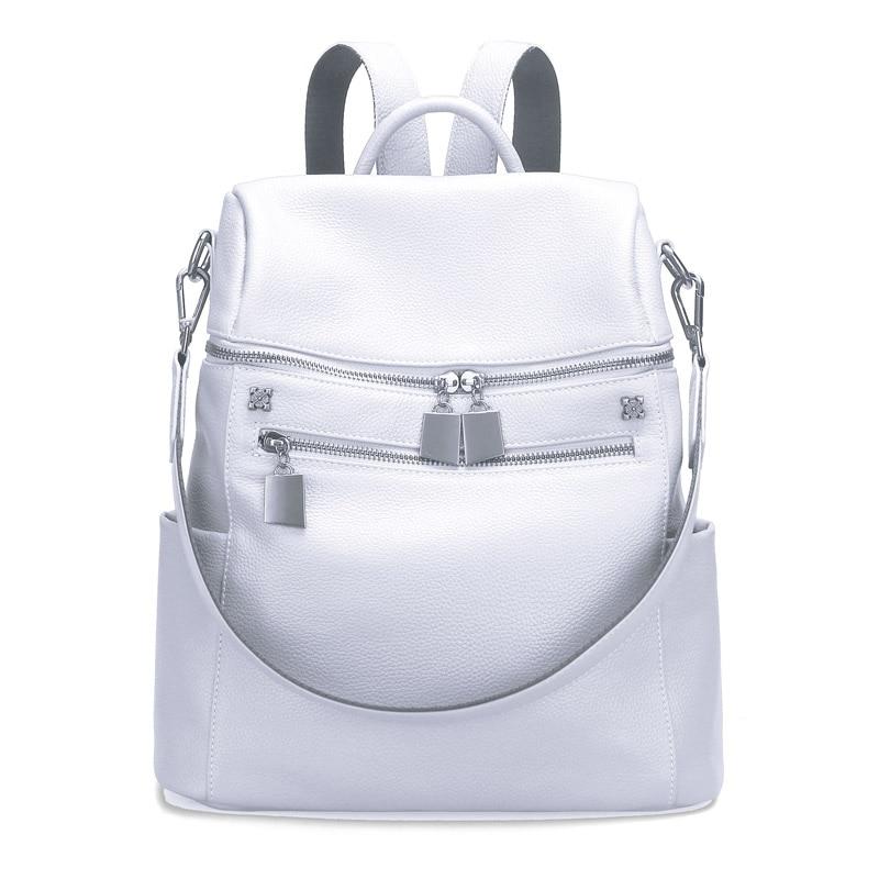 Aodux 100% véritable cuir de vache véritable femmes Designer voyage sac à dos sacs première couche peau de vache fille femme argent blanc sac à dos