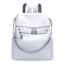 69bde2d741 100% Genuine Leather Women Designer Party Travel Backpack Bags First Layer Cowhide  Girl Female Silver White Rucksack Mochila