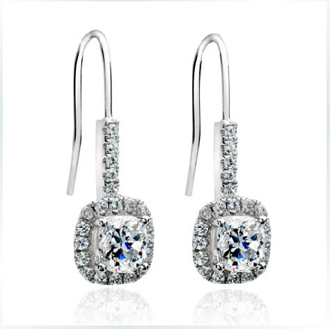 2ct Princess Halo Earrings Nscd Lovely Diamond Dangle For Women Enagagment Sterling Silver Jewelry 18k