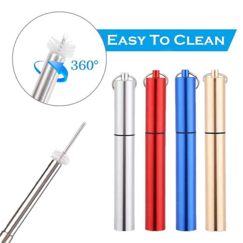 Pen Shaped Telescopic Straw Stainless Steel Metal Drinking Straw Portable Case Key Chain Cleaning Brush for Outdoor Travel Straw