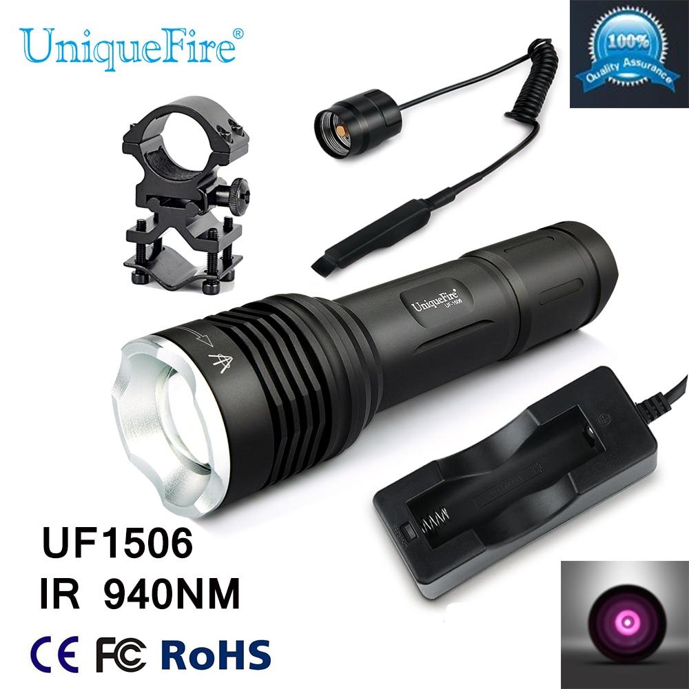 ФОТО 2016 Uniquefire 1506 IR 940NM LED Infrared Flashlight  20mm Convex Lens Torch+Charger+Gun Mount+Rat Tail Lantern Camping