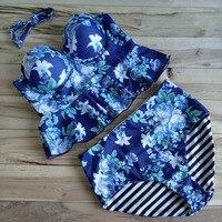 Stripes Bandeau Bikinis High Waist Swimsuit Flower Print Push Up Swimwear Beach Wear Bathing Suit Halter