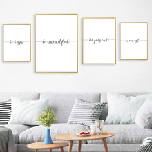 Quotes Canvas Wall Art Be Happy Mindful Poster and Print Black White Quote Painting Pictures for Living Room Home Decoration