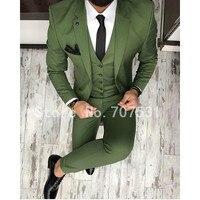 Costume Homme Green Men Suit Slim Fit Skinny 3 Piece Tuxedo Custom Groom Blazer Prom Party Suits (Jacket+Pants+Vest) DN37