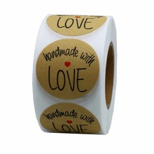 500pcs 1 Inch thank you stickers envelope Round Natural Kraft Handmade With Love Stickers Seal sticker removable Labels
