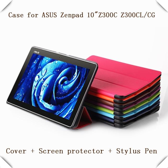 Магнит кожаный чехол подставка для Asus ZenPad 10 Z300C Z300CL Z300CG Планшеты + Защитные плёнки + Стилусы
