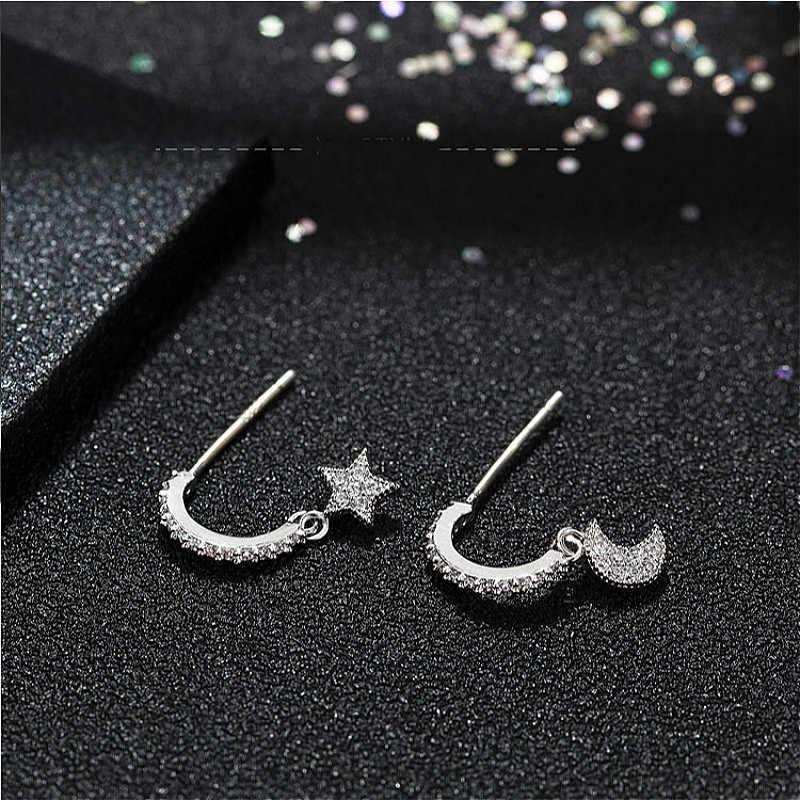 Flyleaf полный циркон Звезда Серьги-висюльки с Луной для женщин 2018 новый тренд стерлингового серебра 925 модные ювелирные изделия Прямая доставка
