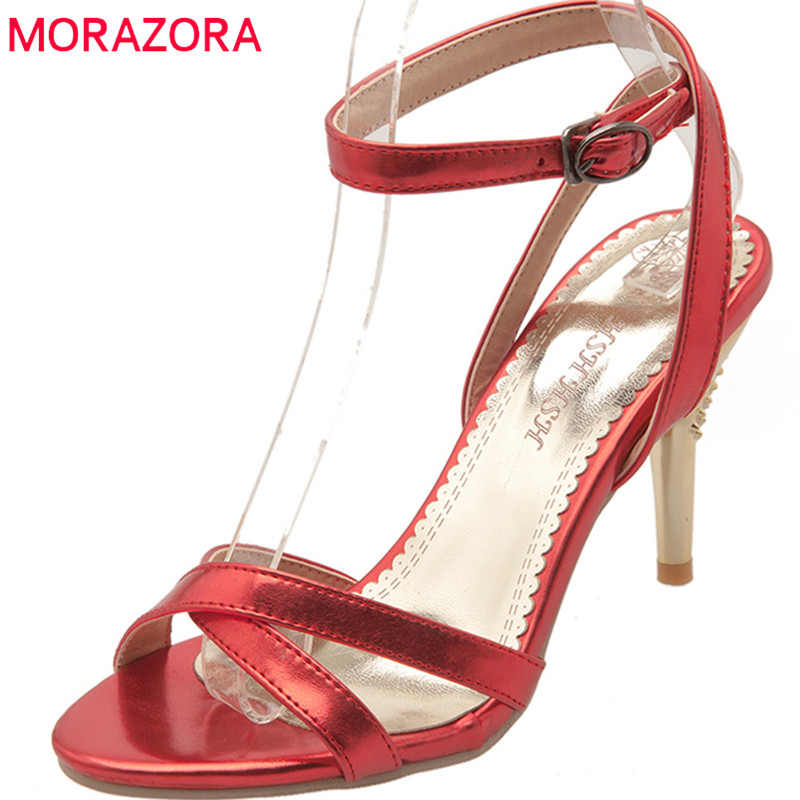 MORAZORA 2018 new women sandals summer simple buckle casual shoes fashion solid high heels speep toe size 33-47 shoes woman new women sandals low heel wedges summer casual single shoes woman sandal fashion soft sandals free shipping
