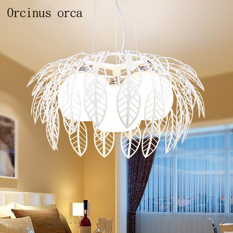 Nordic modern simple leaf chandelier living room bar creative personality hollowed out leaves three chandeliers free shipping|Pendant Lights| |  - title=