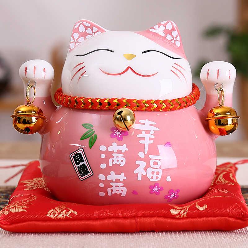 4.5 Inch Gốm Maneki Neko Tượng Mèo May Mắn Đựng Tiền Tài Lộc Nhiều Màu Cát  Giá Đỡ Điện Thoại Hình Con Heo Trang Trí Nhà Quà Tặng Phong Thủy|craft  box|craft decorationcrafts