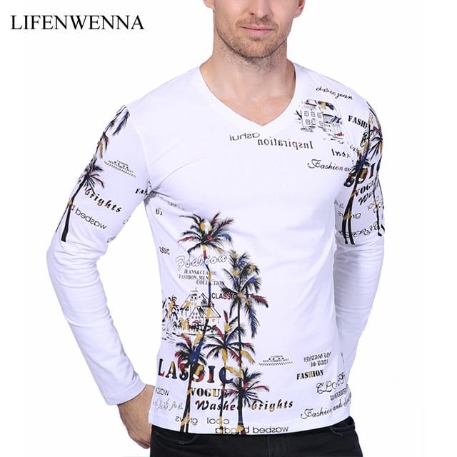01f2984bf 2019 New Fashion Brand Men T Shirts Coconut Island Print V Neck Long Sleeve  Slim Fit T Shirt Men High Quality Casual Tee Shirts