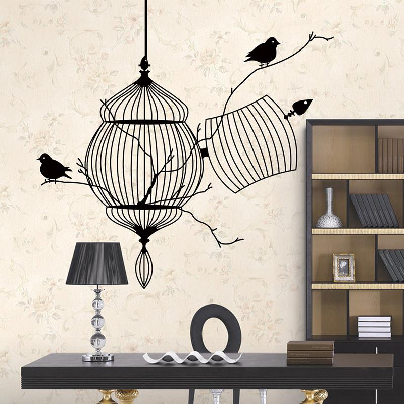 Birds cage branch 3d wall stickers home decor livingroom for Bird home decor