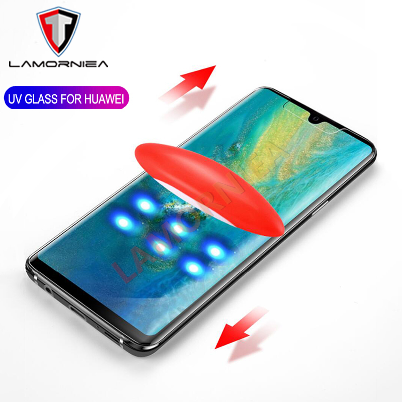 UV Glue Screen Protector For Huawei P30 Pro P20 Tempered Glass Full Cover For Huawei Mate 20 Pro Lite X RS UV Glass For LG V40