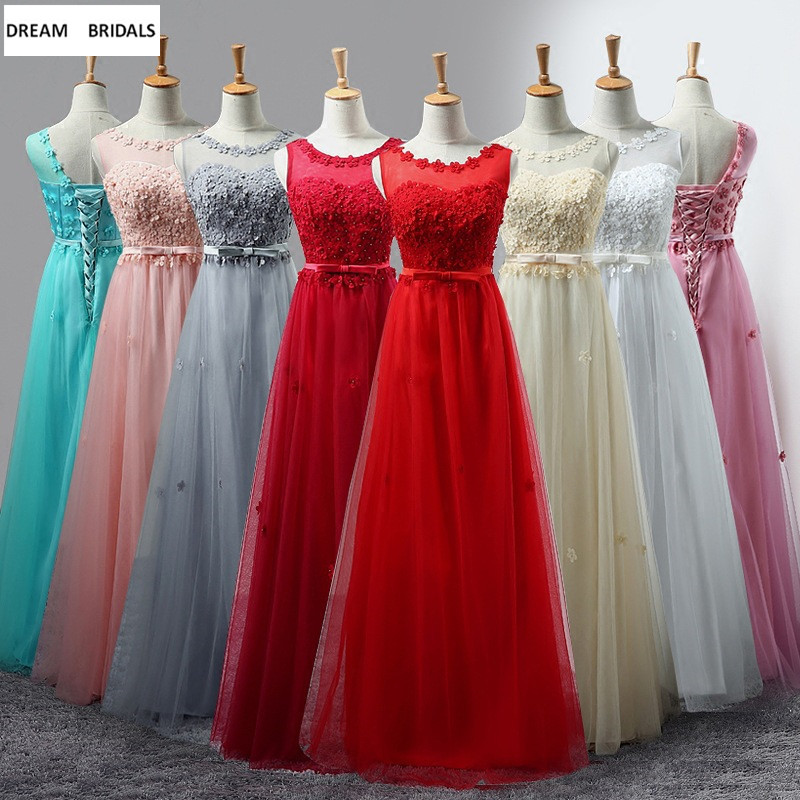 Cheap Wholesale A Line Scoop Long Bridesmaid Dresses 2019 Sleeveless Pearls Flower Women Wedding Party Dress In Stock