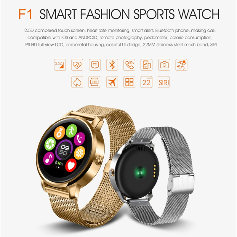 GOLDENSPIKE New F1 Bluetooth Smart Watch MTK2502 with Heart Rate Monitor for Android IOS Phone update v360 support Korean Hebrew k88h mtk2502 bluetooth smart watch with heart rate monitor for android ios phone