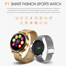 GOLDENSPIKE New F1 Bluetooth Smart Watch MTK2502 with Heart Rate Monitor for Android IOS Phone update v360 support Korean Hebrew