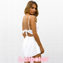 Summer Women White Lace Playsuit V Neck Female Rompers Transparent Sexy Jumpsuit Short Overalls Laipelar