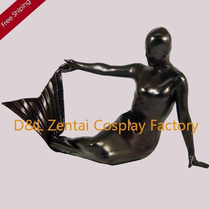 Livraison gratuite DHL Sexy adulte noir brillant métallique sirène Zentai Costume complet corps couvert Cosplay Costume SP1256