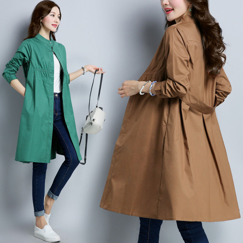 Korean 2019 New Spring Autumn Long-sleeved Long   Trench   Coats Vintage Large Size Women's Clothing N776