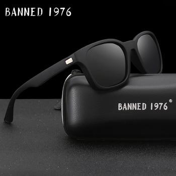 BANIDO 1976 Moda Óculos De Sol das mulheres Dos Homens Polarizados Condução Espelhos Pontos matte Black Frame Óculos de Sol Óculos de Sol Masculinos UV400